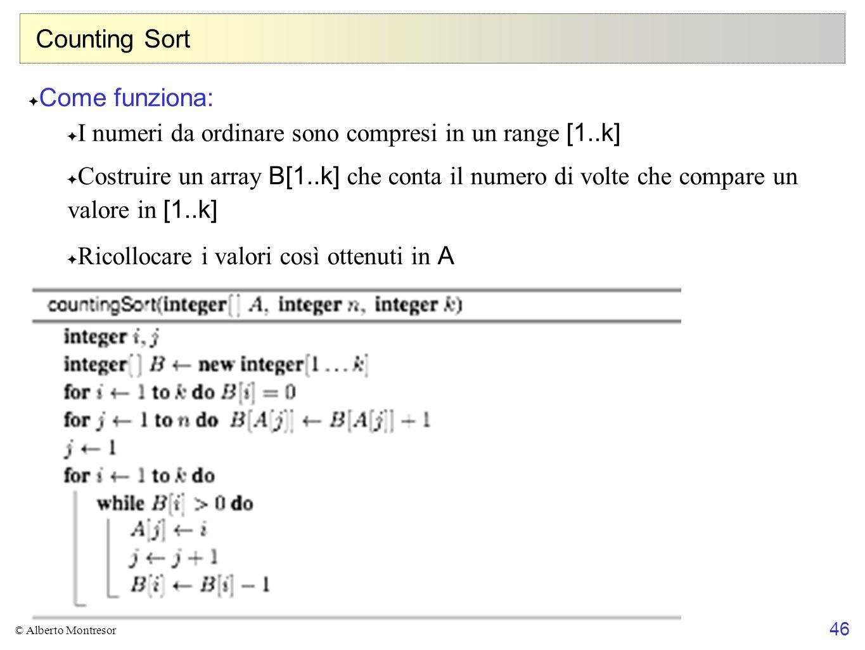 I numeri da ordinare sono compresi in un range [1..k]